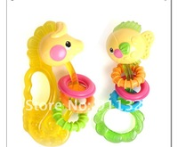 Best selling!!  Fisher price ocean rattles - hippocampus / fat fish  baby plastic toys educational toys Free shipping,1 pcs