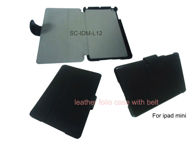 Leather cover for ipad mini smart case with sleep and awake function by China supplier