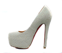 Туфли на высоком каблуке High quality newest fashion women shoes, red bottom White Pearl pumps, 14cm high heel, P1204