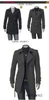 Ренх пальто / длинные двубортные пальто/куртку черный/серый дешевые зимние длинные пальто размер m l xl xxl