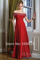 Платье для матери невесты Customized A-Line Off-the-Shoulder Beads Crystal Pleated Bodice Floor Length Chiffon Red Mother of The Bride Dress