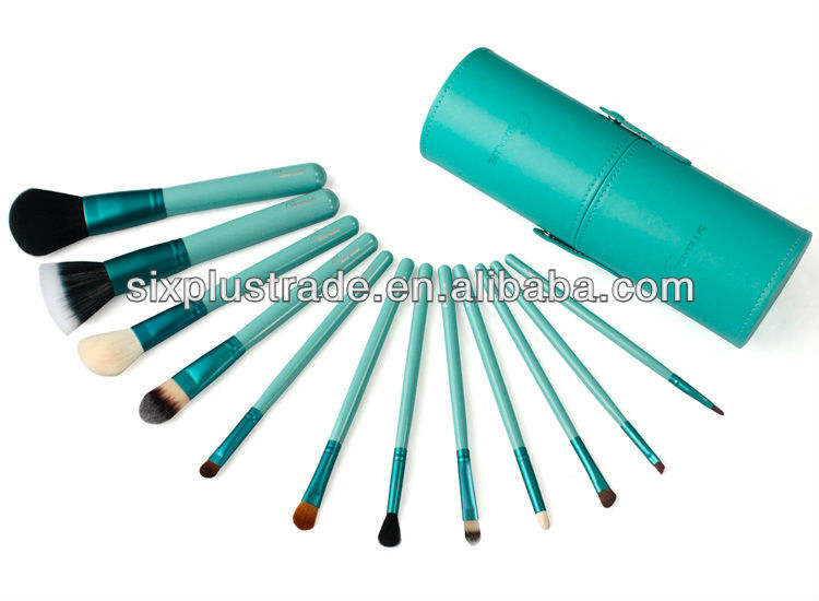 12 pcs green case natural hair cosmetic brush set/angled eyebrow brushes/brass round wire brushes