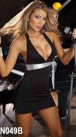 низкая цена + быстрая доставка + высокое качество Черный Белый Мода сексуальный Холтер платье без рукавов clubwear партии вечерние платья коктейль 049