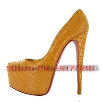 Туфли на высоком каблуке 160mm Daffodil high heels Black Croco Platform Pumps size35-45 red bottom dress shoes