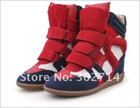 Женские кеды size 35-39 Women's Shoes.increased Casual Shoes.black/red/blue fashion girl's Leather Sneakers sk2102