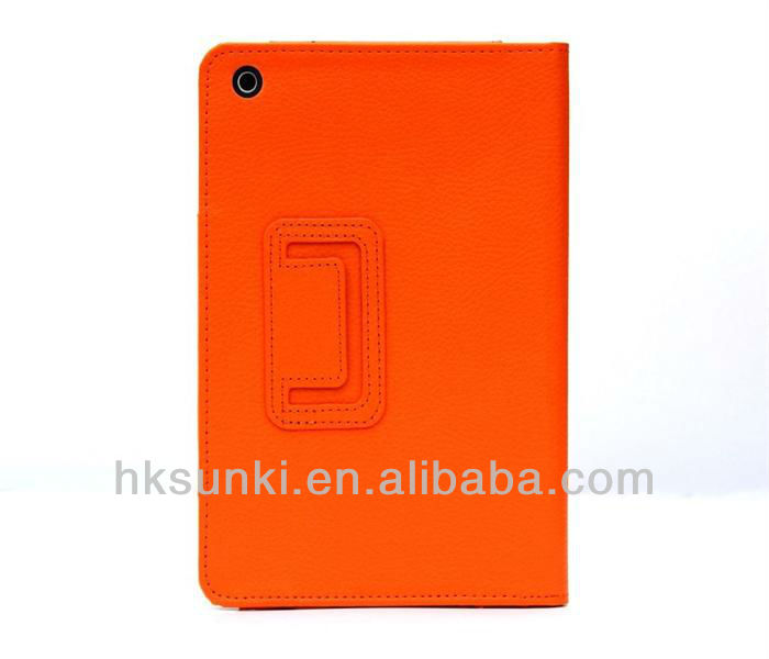 Lichee pattern PU leather case cover for ipad mini with stand