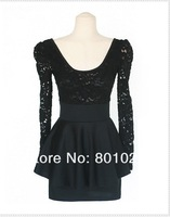 Женское платье 2013 new fashion slim v neck long sleeve lace dress black spring dress cotton women dress A2102