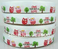 "HOT~Free Shipping 50 Yards 3/4""(19mm)  Owl Grosgrain Ribbon Scrapbooking"