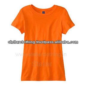 100% cotton women\'s Plain T-shirt - Orange.jpg