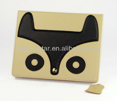 leather case smart cover with stand for fox ipad case
