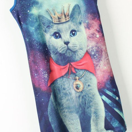Free Shipping Universe Star Symphony Crown cat, shall vest T-shirt TB1509