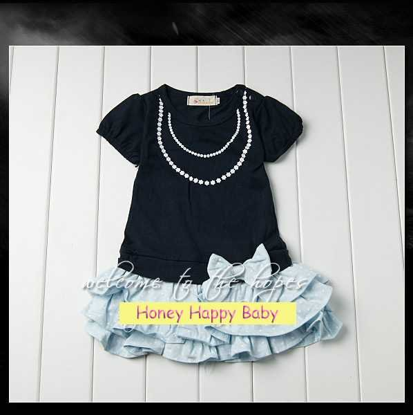 2012 summer girl dress cake dress short sleeve mini dress 100% ctoon for 1~6Y Free shipping wholesale drop shipping
