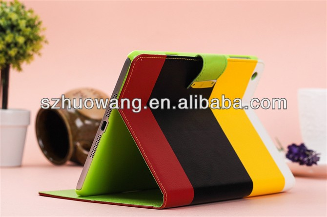 many colors mixed for new ipad mini 2 case,wallet leather case for ipad mini 2