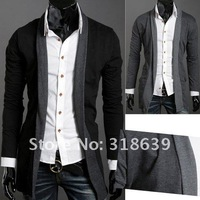 Мужской кардиган NEW Korean Men's Casual Fashion Long Design Knitwear Cardigan Sweater Coat