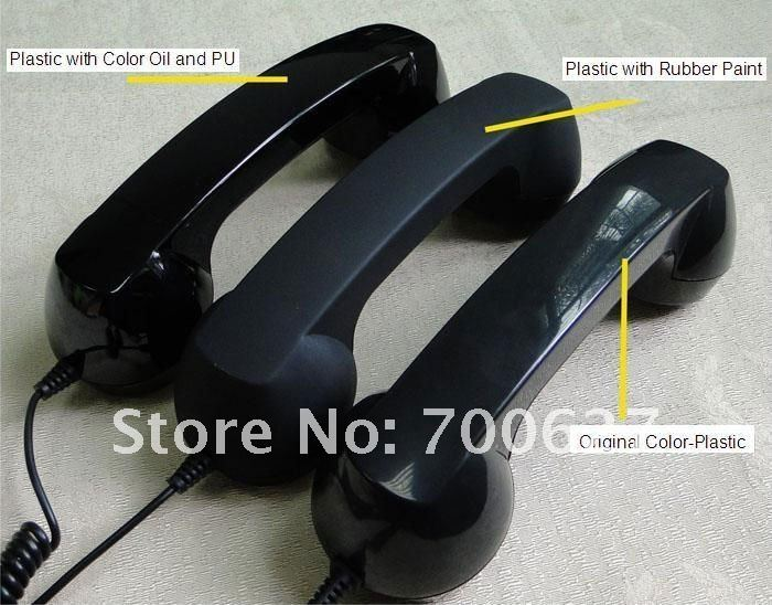 Universal Retro Rubber coating Style telephone handset with Volume and Answering key for mobile phone