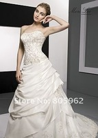 Free shipping wholesale 100% gurantee wedding dress  Satin/organza with Embroidered /beads/lace  any size and color choose