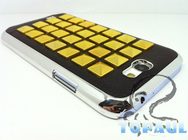 PU case for Samsung note2 pyramid studded