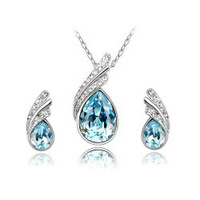 Best gift Top grade made with Swarovski element CRYSTAL pendant necklace earrings Jewelry Set ship