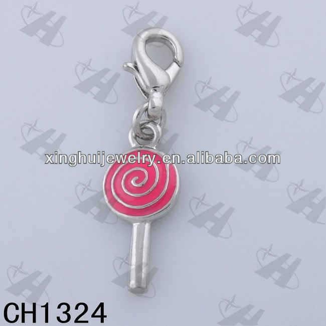 china factory wholesale pink color enamel silver zinc alloy lollipop charm