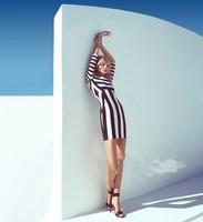Женское платье Brand New Women Celeb Monochrome Black White Striped Celebrity Optical Illusion Party Bodycon Mini Dress V7102
