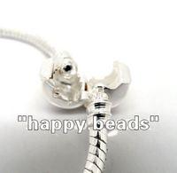 Браслет из бусин 16pcs Mixed Silver Plated Snap Clasp Snake Chain Bracelets Fit European Beads 18cm-21cm