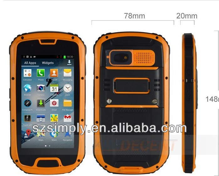 "IP68 QUAD CORE 4.3""ANDROID made in china cell phone GPS PTT. NFC optional"