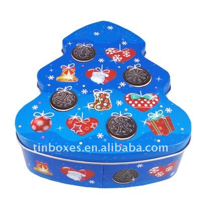 2012 new product Christmas tree tin box