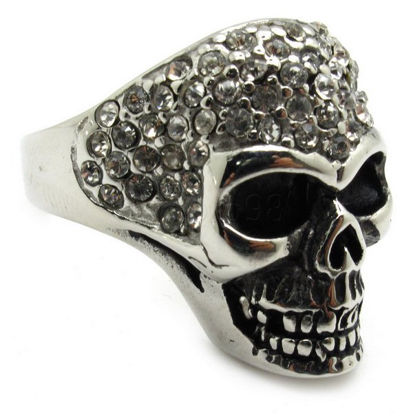 Factory Price Free Shipping Diamond Skull Stainless Steel Ring Men's Imitated Diamond Fashion Ring