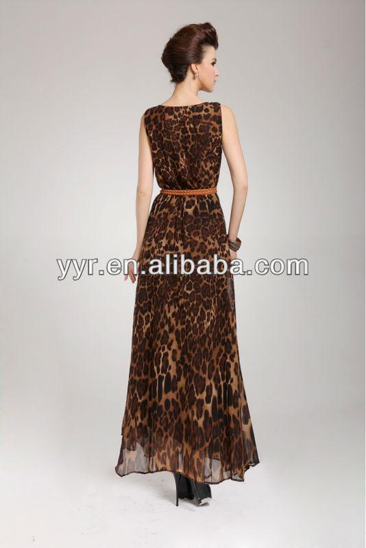 Chiffon Leopard Print Lined Maxi Bohemia Dress