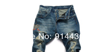Free Shipping 2012 Designer Men Distressed Destroyed Ripped Denim Jeans Pants Man Leisure and Casual Pants Trousers