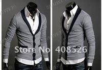 Free Shipping Men's Knitwear Cardigan Fake Pocket Design Slim Casual Sweater Coat M L XL Black, Gray Retail & Wholesale 5450
