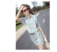 Постельное покрывало The new spring and summer women's casual fresh light blue jeans rivets E471 strapless short-sleeved dress
