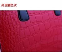 Free shipping glossy patent crocodile leather women handbags  Fashion shoulder bag with Metal Lock bride bag