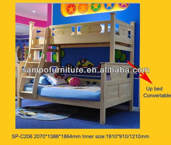 Haute qualit lit superpos en bois peut diviser en deux simples lits enfants - Lit superpose voiture ...