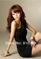 2013 New Fashion Women Flower Dress One Shoulder off Sexy Wrinkle Mini Chiffon Dress Freeshipping#D006