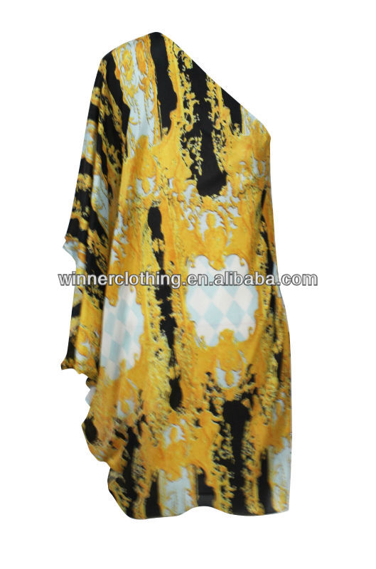 middle east high quality silk habotai traditional clothes with one shoulder for lady