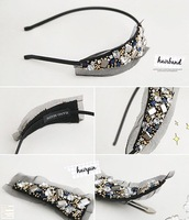 Free shipping,Min order is15$(Mixed order)Fashion exquisite glittering rhinestone lace hairband,2012 Charming women's decoration