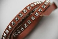 Punk gothic B0091 New Fashion Unisex Multi-layer Artificial Leather Rivet Bracelet Wristband jewelry Wholesale ZC