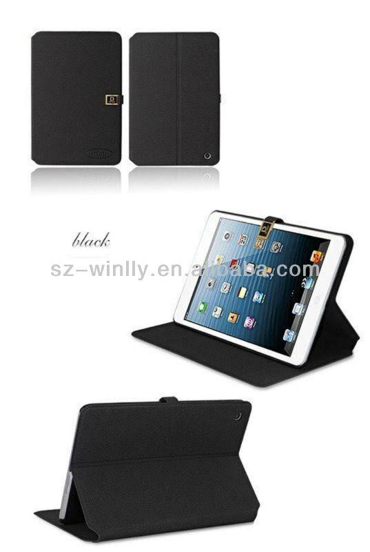 2013 new fashionable book leather case for ipad mini,for tablet PC mini iPad case