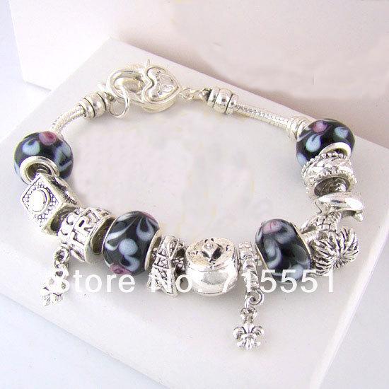 PB10    2014  Bracelets & Bangles, 925 sterling silver bracelets for Женщины,  beads charm bracelets jewelry
