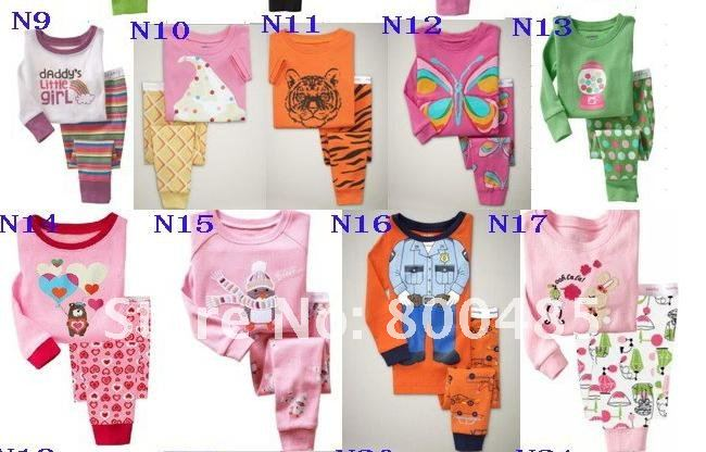 Free shipping New design baby pajamas suit,kids sleepwear long sleeve 2pcs100% conton long T-shirt + long pants  6ets/lot