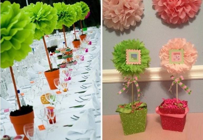 Как сделать цветы с бумаги на украшение зала