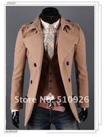 Мужской тренч 2012 men single-breasted one big turndown concise man wind coat