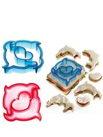 6pcs / set New Plastic Sandwich Crust Cutter in Dolphin, Dinosaur etc animals, puzzle, and vehicle shapes Free shipping