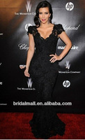 Вечернее платье Kim Kardashian Black Beaded Lace Evening Gown Celebrity Dress custom made Golden Globes Party XF94