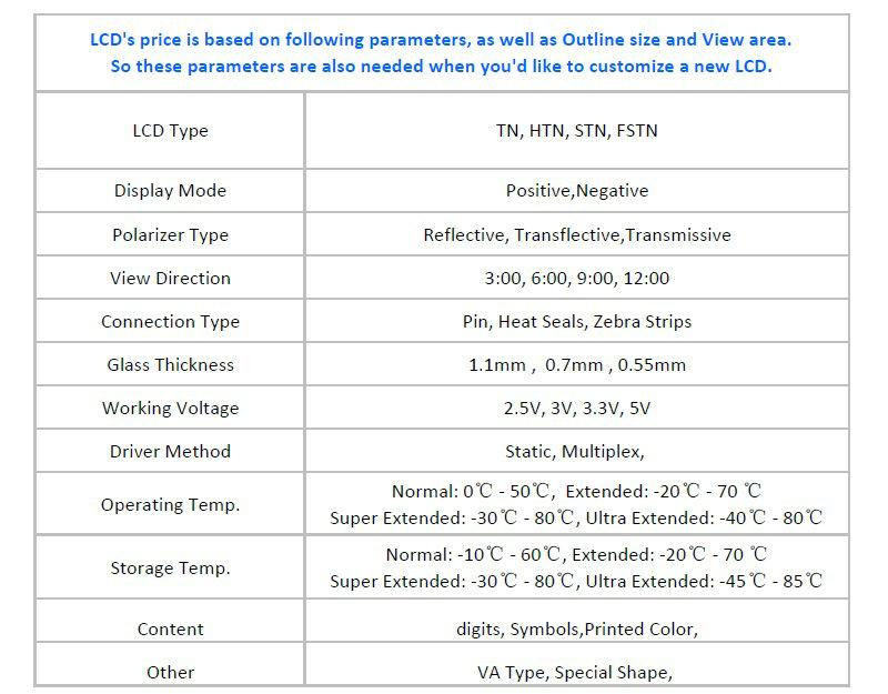 Segment 4 digits TN LCD Glass