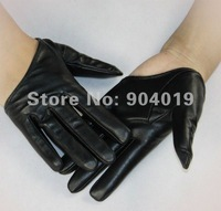 Женские перчатки из кожи Black Sexy Lady 5 Fingers Half Palm Genuine Leather Gloves Size M