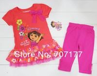 Комплект одежды для девочек NEW DESIGN kids children clothing girl short sleeve dora suits sets tops leggings pants cotton