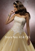Q021 Modern Strapless Tulle Quinceanera Dresses Appliques Ball Gown Ankle Length Custom Made