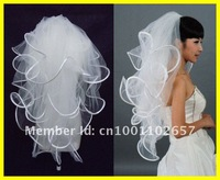 2012 New Hot Sale 3T Layers Robbin Edge With Comb Wedding Veil White Ivory Bridal Accessory Head Veils WV-05